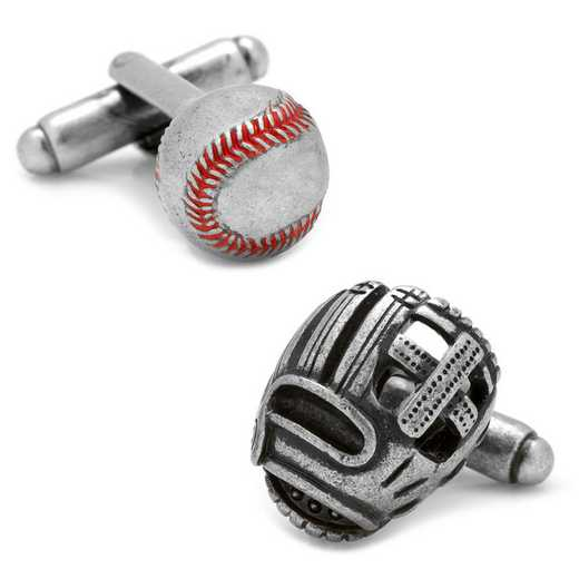 CC-BASE2-SL: Baseball and Glove Antique Silver Cufflinks